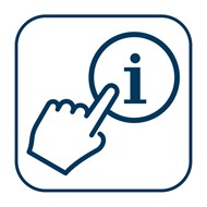 a hand pointing to the information symbol - the sign that BCNA uses to symbolise Easy English information.