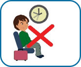 woman sitting with a suitcase next to her and clock is displaying different times, symbolising she has been sitting for a long time. This image has a red cross through it.