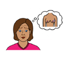 An illustration of a woman looking worried with a thought bubble of a pair of breasts with a mark on the left breast symbolising breast cancer